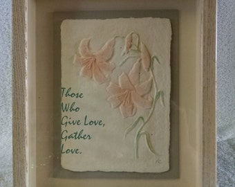 Figi graphics signed cast paper 3D artwork of lilies in shadowbox with verse on glass