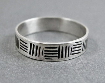 Cross Hatch Band Ring - Sterling Silver Ring