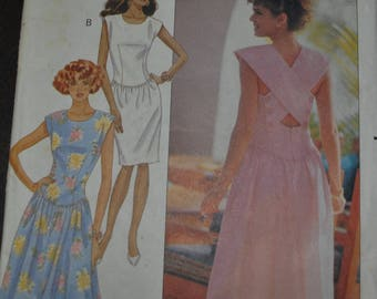 Vintage 1980s Butterick 4083 Sewing Pattern Sleeveless,  Lined Dress with Back Straps Desigher Kathryn Conover Size 10 Bust 32