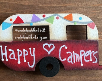 camper magnet, vintage camper, happy camper, refrigerator magnets, painted wood camper, camper decor, kitchen magnets, mothers day gift