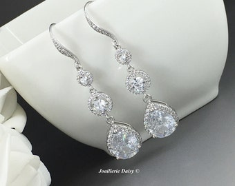 Long Crystal Earrings Cubic Zirconia Earrings Bridal Jewelry Gift for Bride Wedding Earrings Bridal Earrings Dangle Earrings Crystal Drop