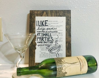 The Great Gatsby - Large Parties - Wood Book Page Piece