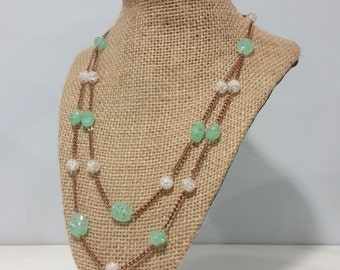 Double Strand Copper & Sea Glass Necklace
