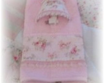 Mary Rose Fabric Pink Roses Matching Night Light and Guest Towel Set