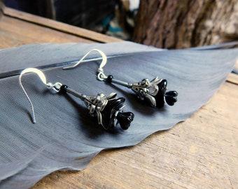 Nightshade. Gothic Black Czech Glass Flower dangle earrings