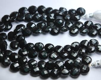 10 pieces,Black Onyx Faceted Heart Shape Briolettes,Size 10mm Superb-Finest Quality