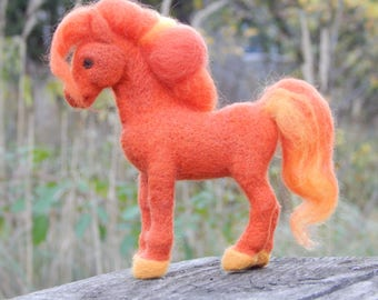 Needle felted little Horse, cute pony toy, fire toy, gift handmade for children's, felted animals, pretty pet, orange horse, Wool felted toy
