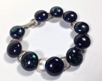 "Sterling Silver ""Black Opal"" Dichronic Glass Bracelet- Beautiful Rainbow Colors!"