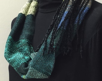 Hand Woven Mobius Cowl,  Shades of blue and green, Handmade, Lightweight, Infinity Scarf, Chic Accessory, Gift