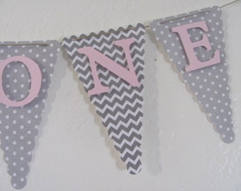 High Chair Banner, I Am One banner, Birthday decorations, small banner, Gray polka dot, chevron, pink