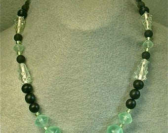 Vintage Czech Seafoam Green Black Crystal Glass Bead Necklace - FREE GIFT WRAPPING