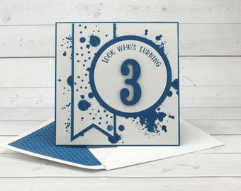 Happy 3rd Birthday Card - Hand Stamped Card - Happy Birthday Card - Milestone Birthday - Handmade Card - Blue Birthday Card - Toddler B-day