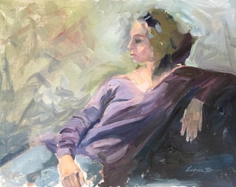 Original oil painting of young woman figurative in impressionistic style. 12 x 16 by North Carolina artist Angela Tommaso Hellman