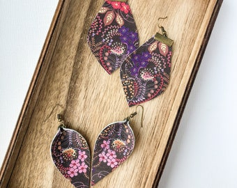 Purple Floral Leather Earring, choose shape and size!