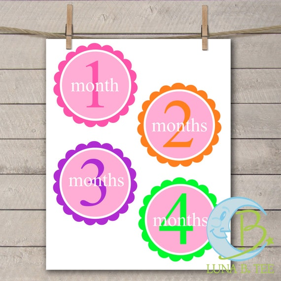 INSTANT DOWNLOAD Print Your self DIY Stickers Transfer Baby Girl Month Stickers