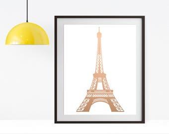Custom Real Gold Foil Eiffel Tower Print, Rose Gold Foil, 8x10 Print, Wall Art, Home Decor, Paris France