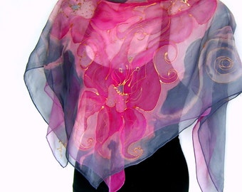 Hand Painted Silk Scarf, Pink Mauve Silver Gray Orchids, Square Floral Silk Chiffon Scarf, Gift For Her