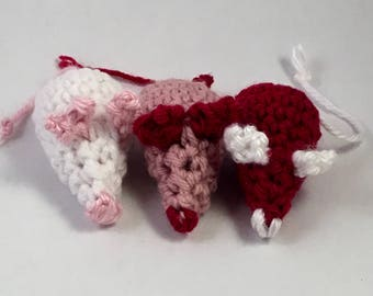 Crocheted Cat Toys - Set of Three Valentine's Day Mice for Your Smitten Kitten