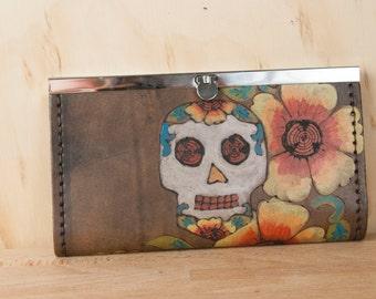 Womens Wallet - Leather Wallet - Checkbook wallet - Clutch Wallet - Day of the Dead - Sugar skull in the Vesa pattern with flowers