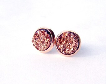 Rose gold druzy stud earrings / faux druzy / Mother's day gift / gift for her / lightweight earrings