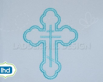 Cross Machine Embroidery Design -- Orthodox Satin Outline Cross Easter Embroidery Design REL048
