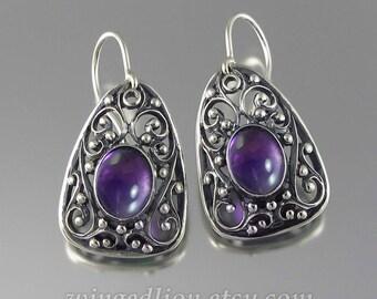 GERTRUDE Amethyst silver earrings