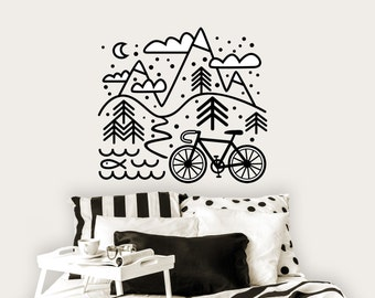 Wall decal / Cycling sticker / Mountains / Bicycle and Mountains / Wall sticker / Bike sticker / Gift for cyclist / Bicycle decor