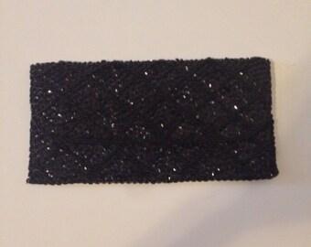 1960's Vintage Women's  Beaded & Sequin Black Purse Clutch Excellent Condition