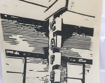 Cafe Lino Block Print 8x10