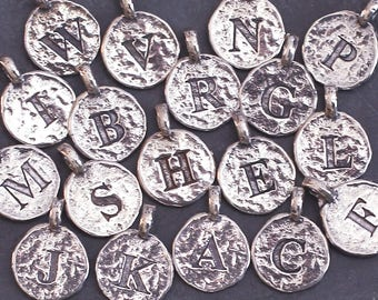 2 Sterling Silver Initial Charms-925 Silver Letter Charms-Hammered Silver Alphabet Pendants-Hand Stamp Silver Letter Discs 11mm-Times Font