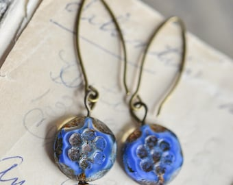 Blue Antique Earrings, Czech Glass Beads, Brass, Neo Vintage Jewelry
