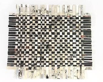 Crossword Paper Weaving- 16x14- Puzzle Art- Black White, Copper- Handwoven Papers- Original Mixed Media- 16x14