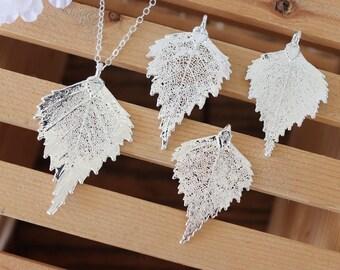 Silver Birch Silver Leaf Necklace, Real Leaf Necklace, Birch Leaf, Sterling Silver Leaf Necklace, Long Leaf, Slim Leaf, LC188