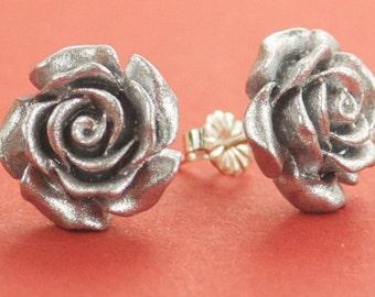 Vintage Metalic Silver Rose Flower Post Earrings
