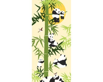 Tenugui Towel, Hand Dyed Fabric, Hamamonyo, Panda Bamboo Moon