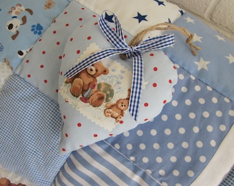 HANDMADE Patchwork  Baby quilt - Play Mat and Deorative Padded Heart.