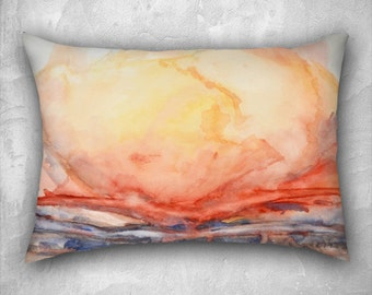 Rectangular pillow. Cushion cover with fine art print. Bright orange, earth tones and blue, watercolor. Rectangle decorative cushion