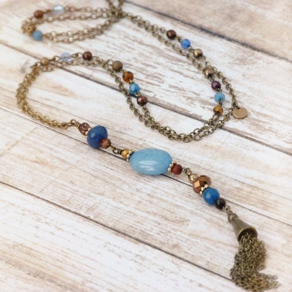 Boho necklace with tassel, Hippie chic necklace, Necklace with tassel, Long necklace, Beaded necklace, Spring jewelry, Free shipping
