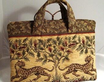 Spotted Leopard Tapestry Envelope Zip Bag or Laptop Carrier