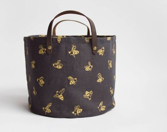 Honey Bees Small Basket. Bucket Bag. Storage Bag. Project Bag. Tote. Yarn Basket. Knitting Bag. Fabric Bucket.