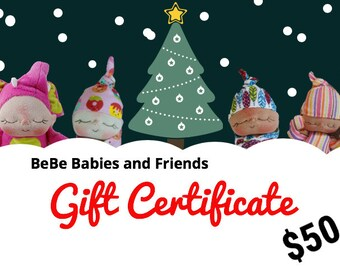 50 Dollar Holiday Gift Certificate for BeBe Babies and Friends Shop Christmas Gift Certificate Doll Gift Certificate Toy Gift Certificate