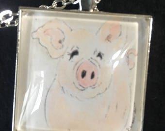 This Little Piggy - Silver 35mm art print pendant