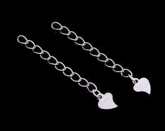925 silver extension chain, 30 mm length with heart
