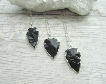 Black Obsidian Arrowhead Pendant Necklace -  Electroplated Natural Gemstone Jewellery - Silver Plated