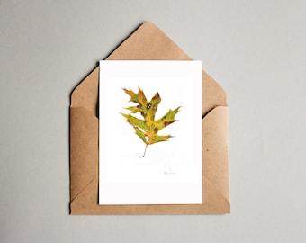 Spotted Oak Leaf Card