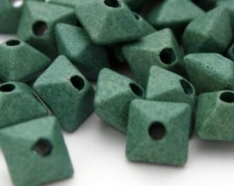 5 Mykonos Greek Matte Oxyhedron Beads in Seafoam Green - 12 mm