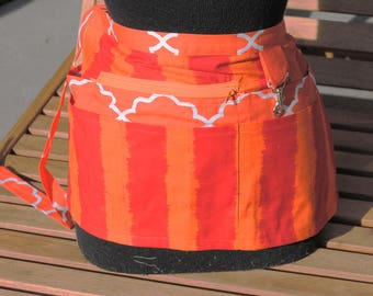Handmade Vendor Apron  Utility Craft Farmers Market Pink Orange Stripes Orange Octogans