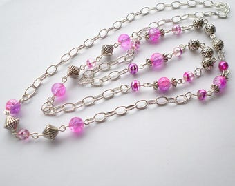Long pink necklace, pink and silver necklace, long silver necklace, pink necklace, no clasp necklace, long necklace, long pink chain