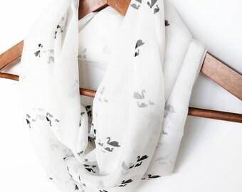 Birds Infinity Scarf, Silk Infinity Scarf, Swan Scarf, Chiffon Spring Lightweight Scarf, Gift For Wife, Gift for Mom, Wildlife Animal Print