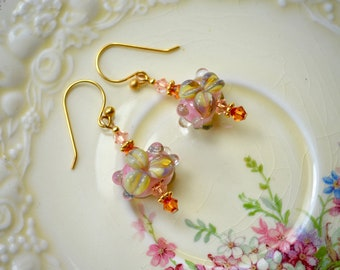 Floral lampwork earrings in delicate pastels - Ornate artisan glass flower beads - Ooak gift for her